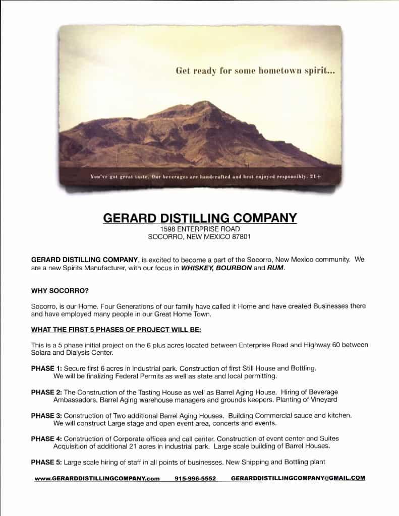 Gerard Distilling Company Flyer Page 1