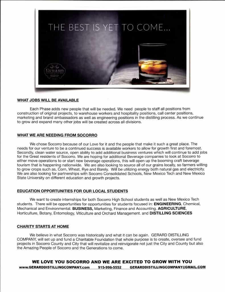 Gerard Distilling Company Flyer Page 2